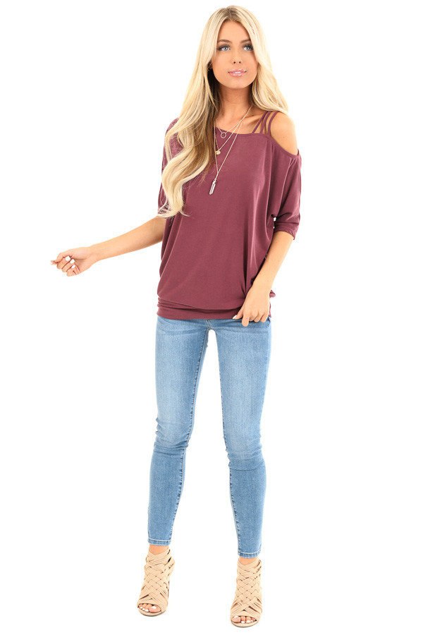 Faded Burgundy Soft Asymmetrical Off the Shoulder Top front full body