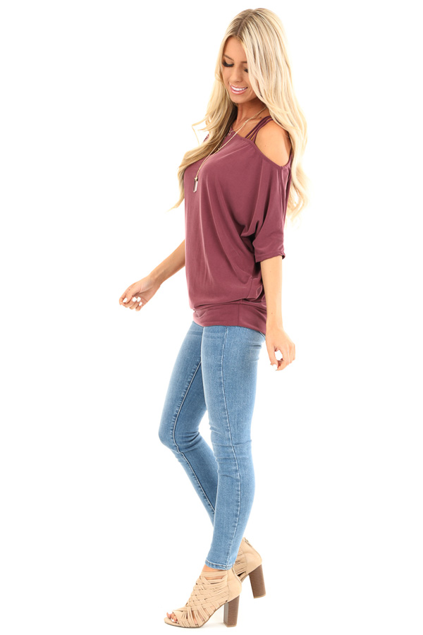 Faded Burgundy Soft Asymmetrical Off the Shoulder Top side full body