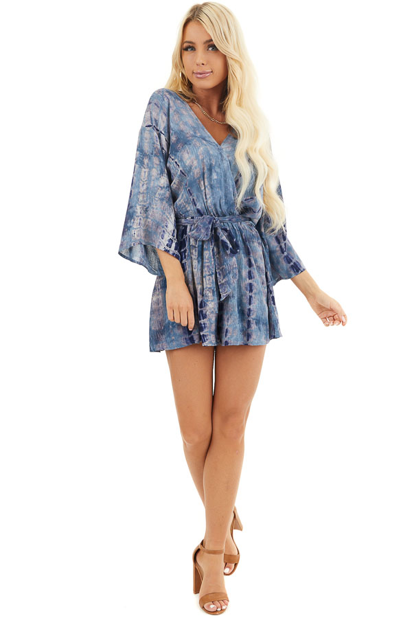 Ocean Blue Tie Dye 3/4 Sleeve Romper with Waist Tie front full body