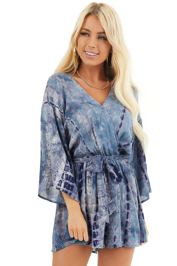 Ocean Blue Tie Dye 3/4 Sleeve Romper with Waist Tie front close up