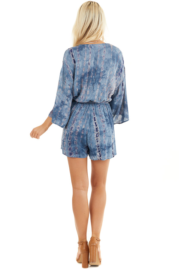 Ocean Blue Tie Dye 3/4 Sleeve Romper with Waist Tie back full body