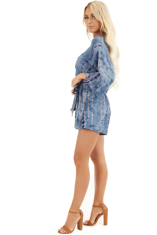 Ocean Blue Tie Dye 3/4 Sleeve Romper with Waist Tie side full body