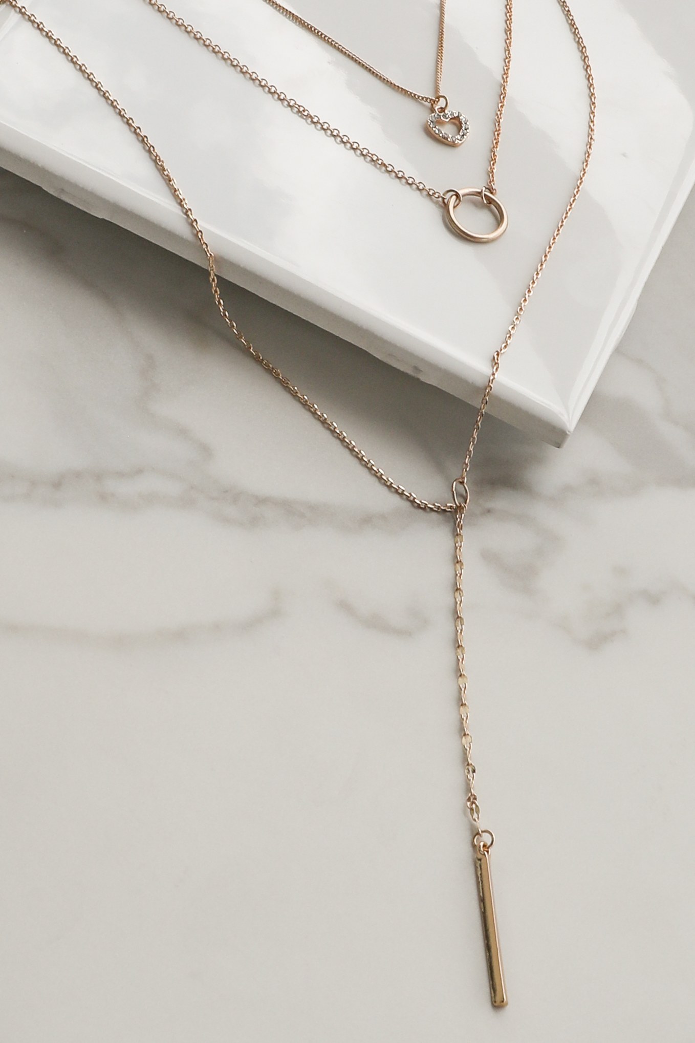 Gold Multi Layered Necklace with Pendant Details