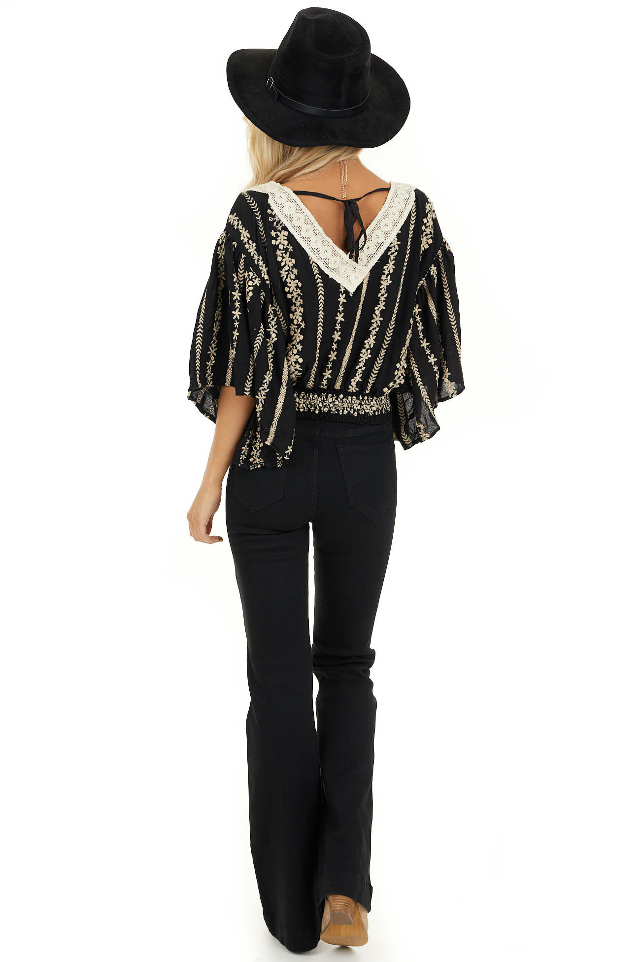 Jet Black V Neck Top with Cream Embroidered Details back full body