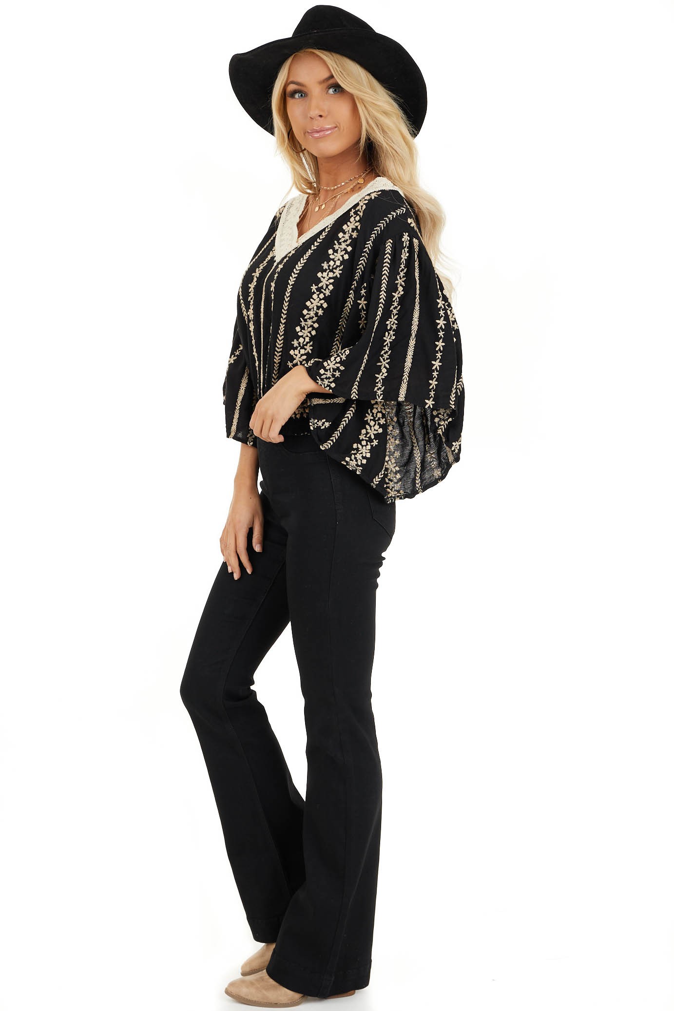 Jet Black V Neck Top with Cream Embroidered Details side full body