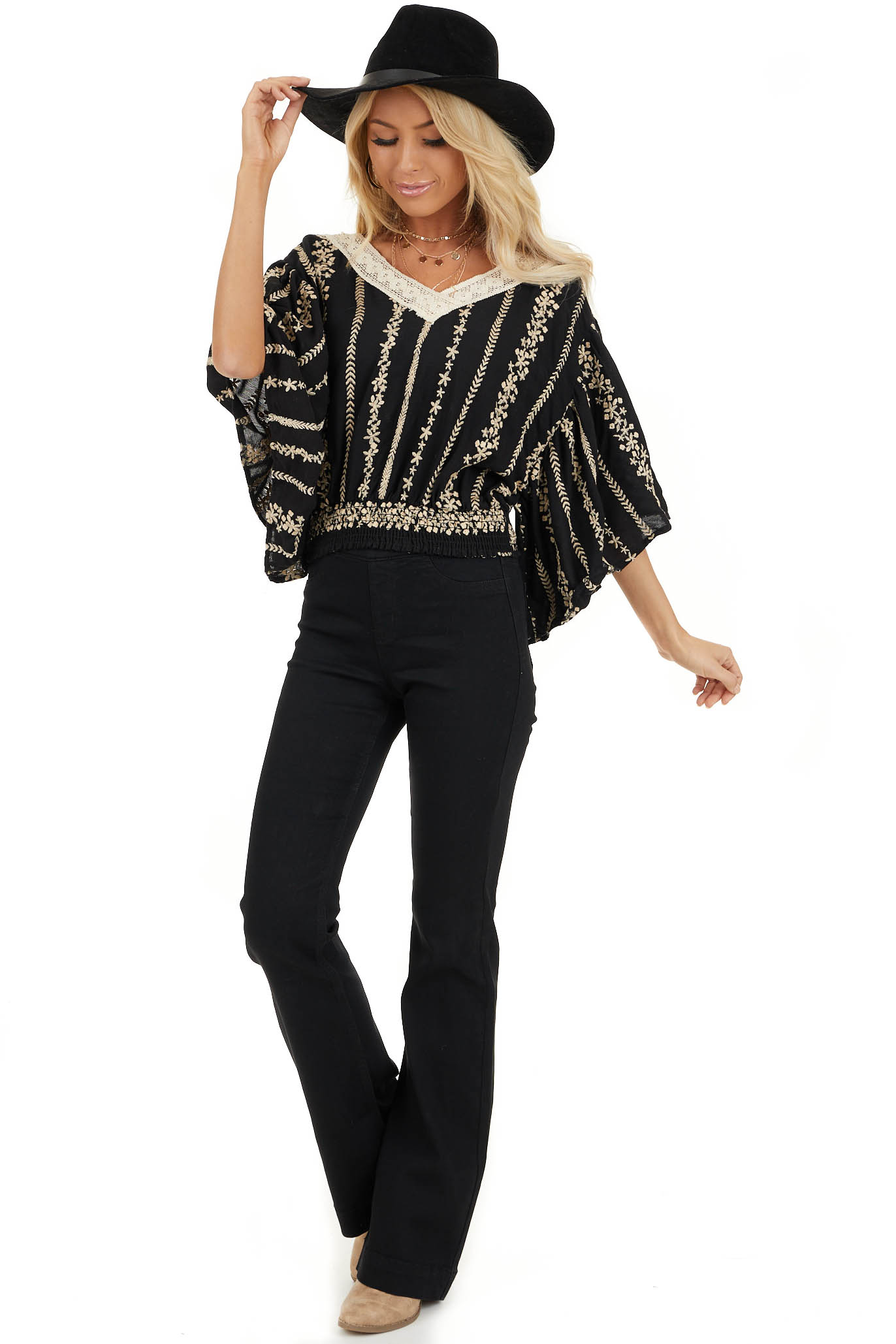 Jet Black V Neck Top with Cream Embroidered Details front full body