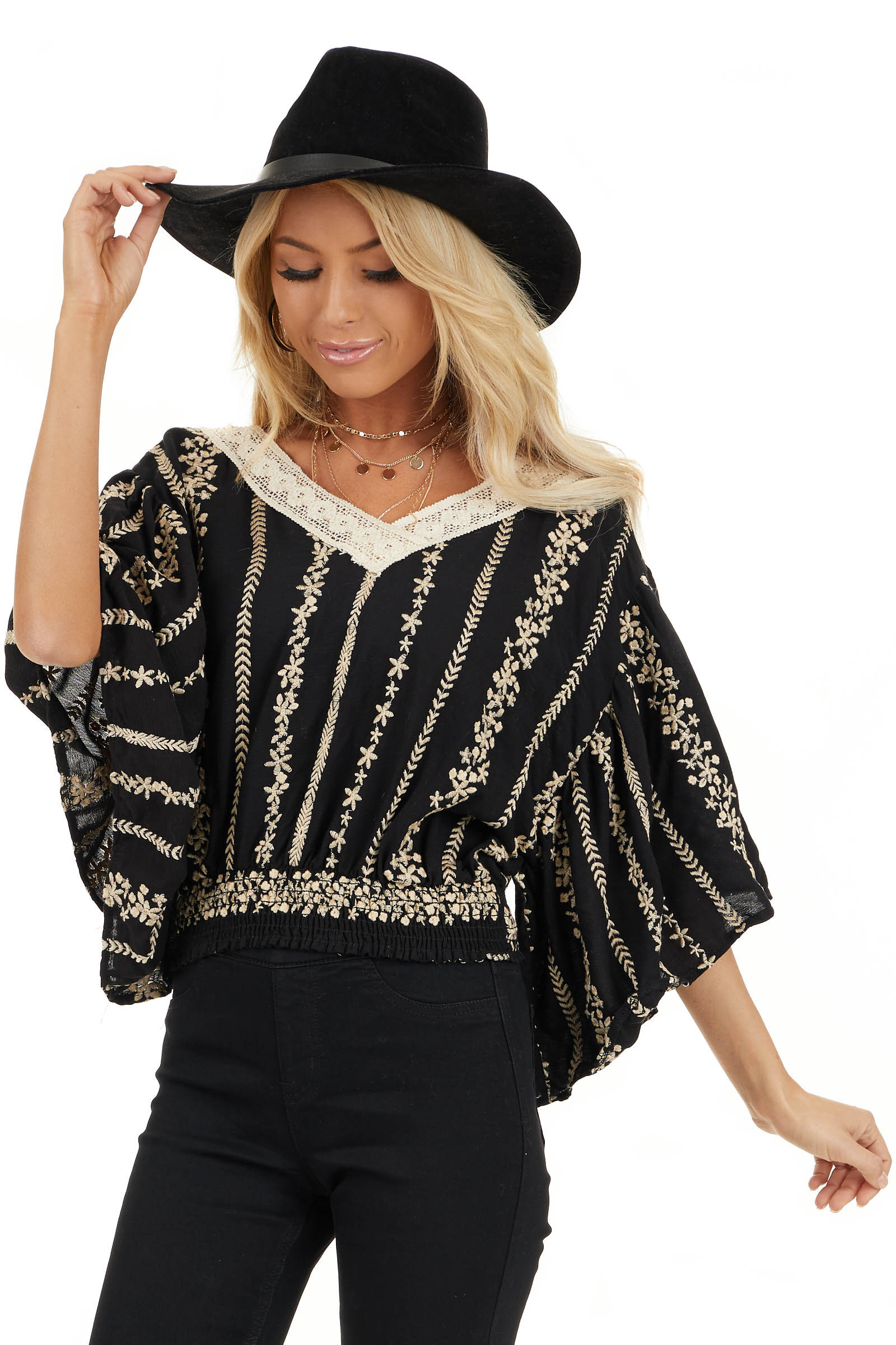 Jet Black V Neck Top with Cream Embroidered Details front close up