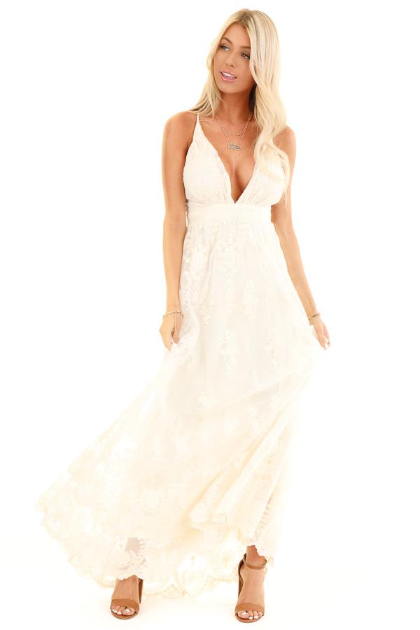 Cream Floral Lace Backless Spaghetti Strap Maxi Dress front full body