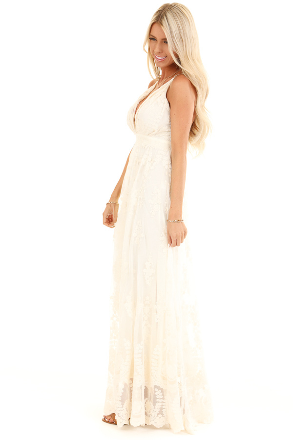Cream Floral Lace Backless Spaghetti Strap Maxi Dress side full body