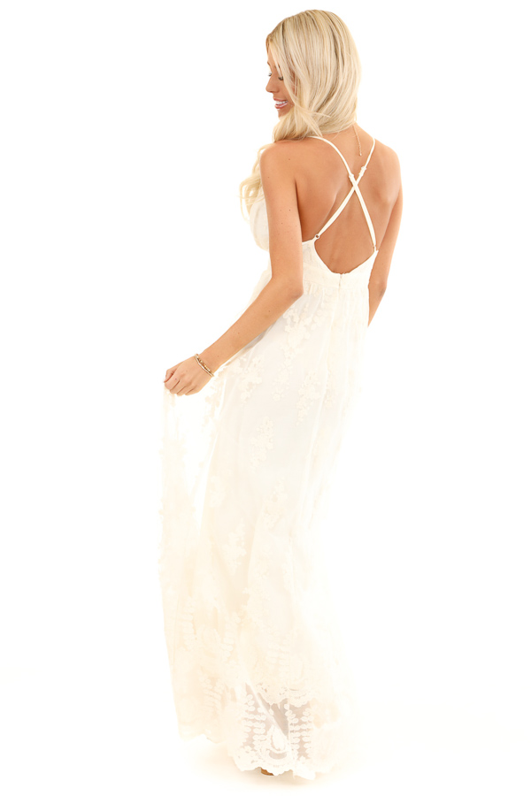 Cream Floral Lace Backless Spaghetti Strap Maxi Dress back full body