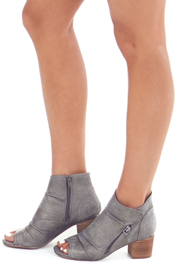 Fossil Grey Snakeskin Open Toe Heeled Bootie with Zippers side view