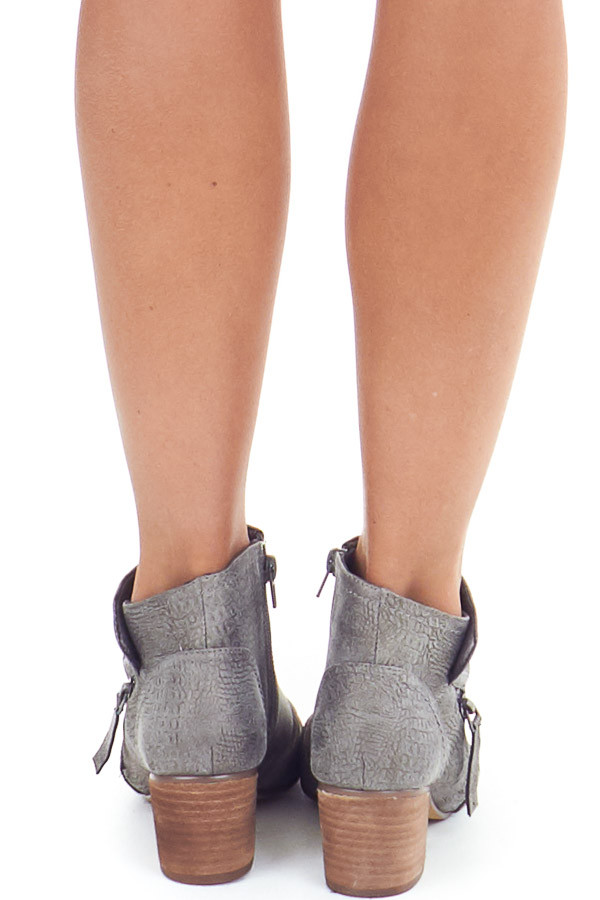 Fossil Grey Snakeskin Open Toe Heeled Bootie with Zippers back view