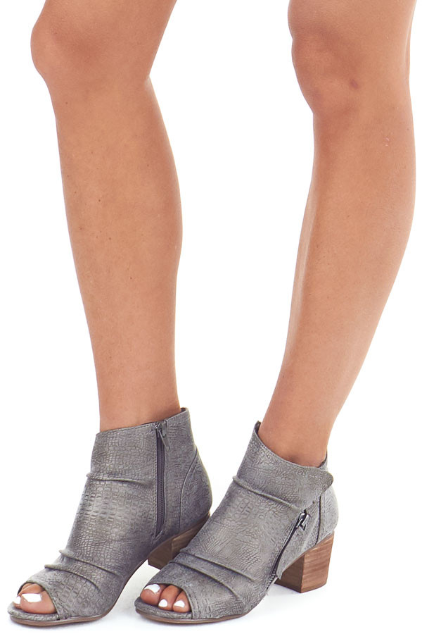 Fossil Grey Snakeskin Open Toe Heeled Bootie with Zippers front side view