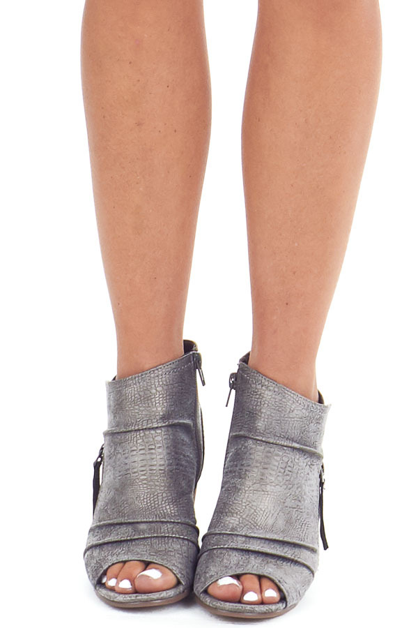 Fossil Grey Snakeskin Open Toe Heeled Bootie with Zippers front view