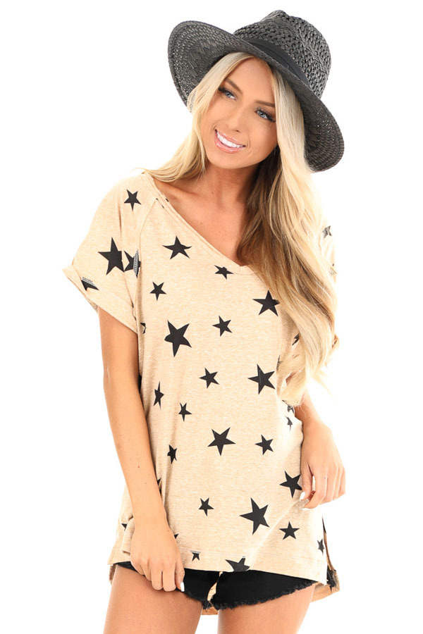Sand V Neck Short Sleeve Top with Jet Black Star Print front close up