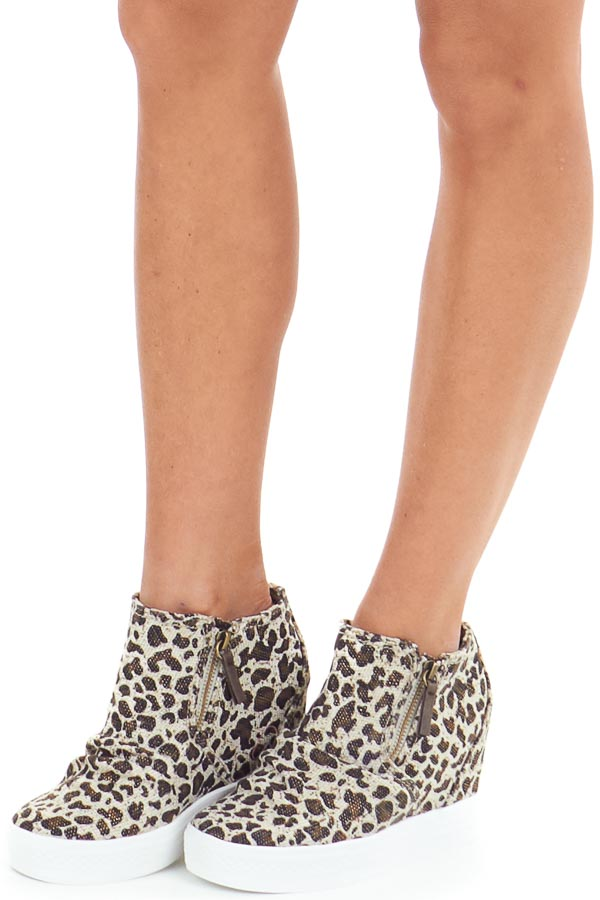 Cream Leopard Textured Wedge Sneaker with Ruched Detail front side view