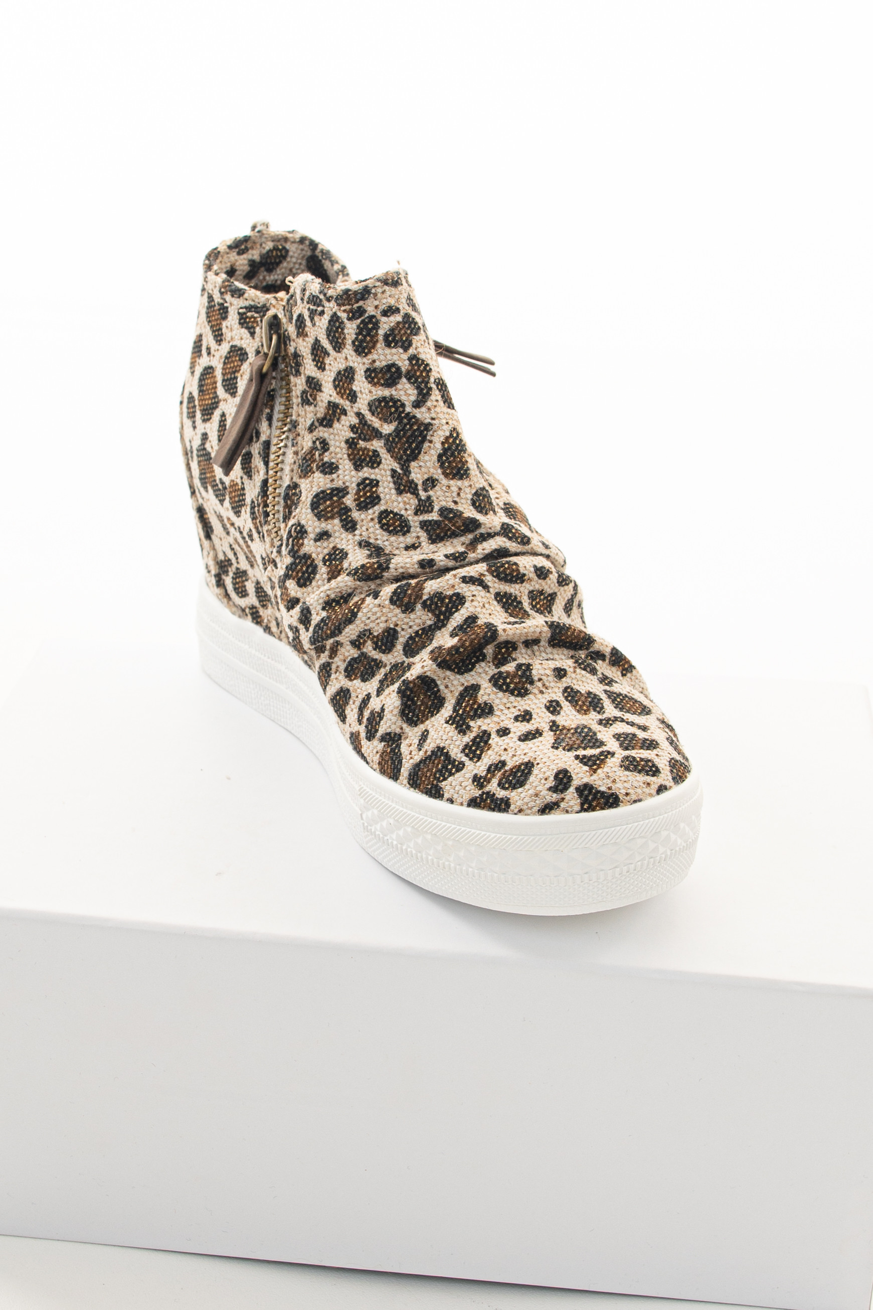 Cream Leopard Textured Wedge Sneaker with Ruched Detail