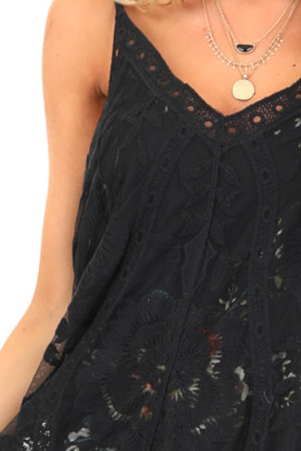 Black Floral Print V Neck Mini Dress with Sheer Lace Overlay detail