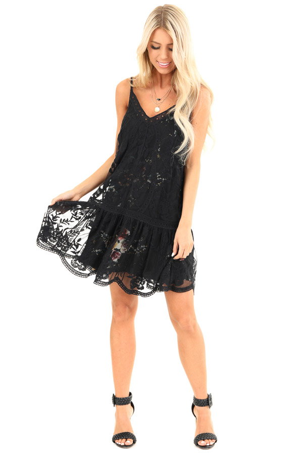 Black Floral Print V Neck Mini Dress with Sheer Lace Overlay front full body