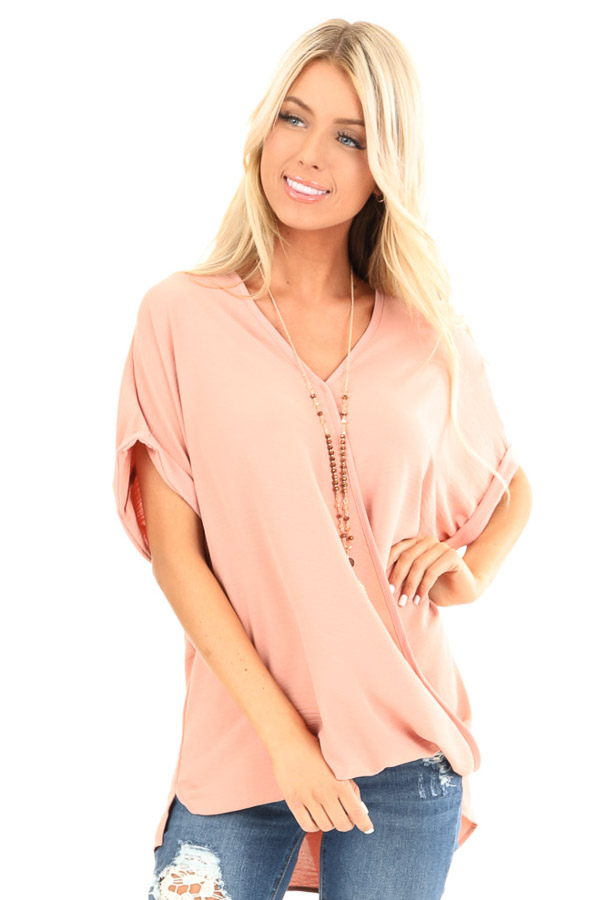 Salmon Surplice Bubble Hem Top with Short Dolman Sleeves front close up