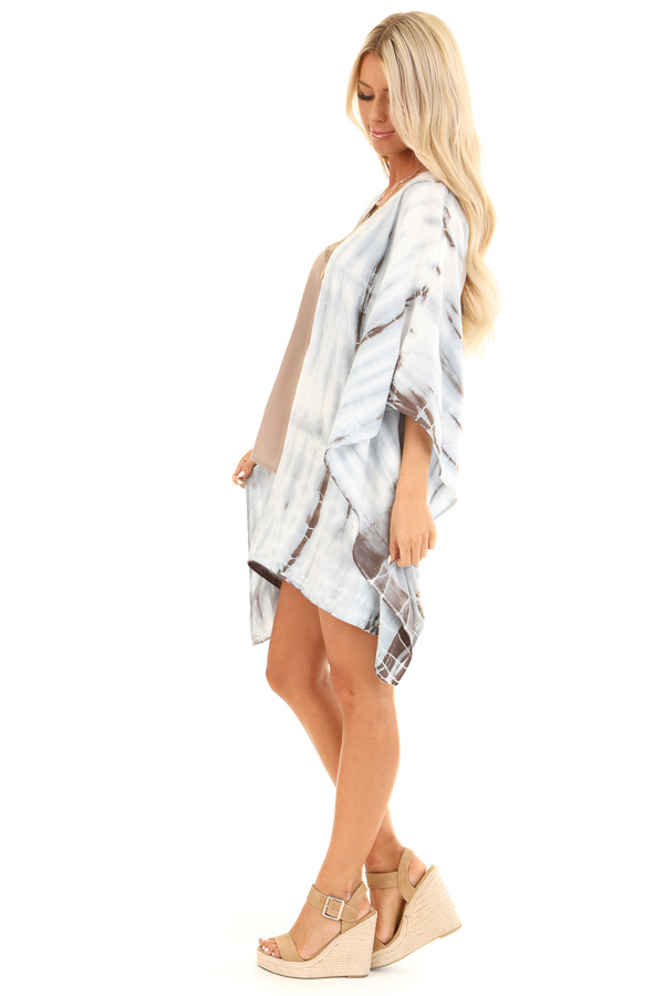 Baby Blue Tie Dye Short Sleeve Open Front Kimono side full body