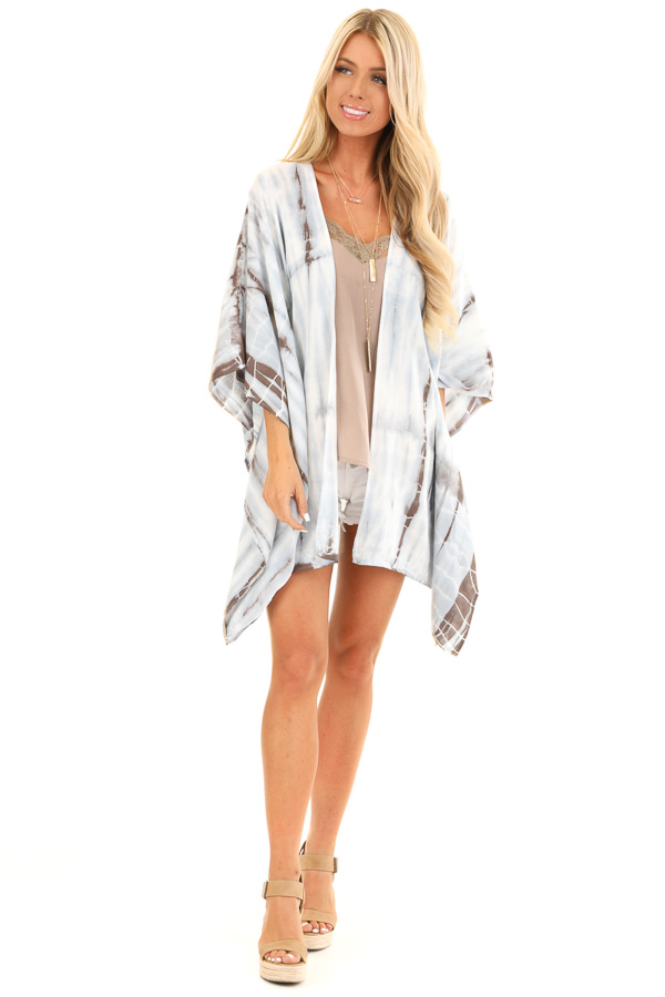 Baby Blue Tie Dye Short Sleeve Open Front Kimono front full body