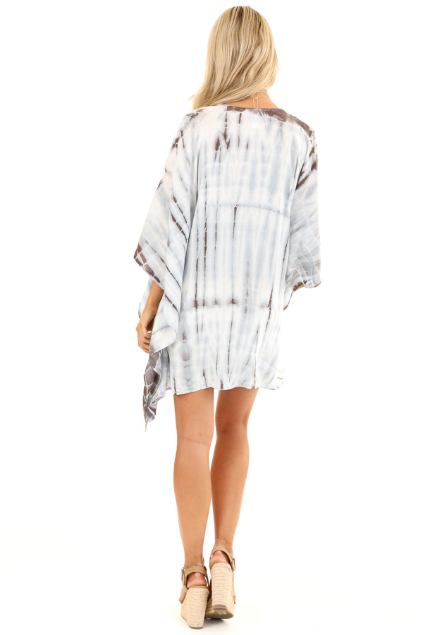 Baby Blue Tie Dye Short Sleeve Open Front Kimono back full body