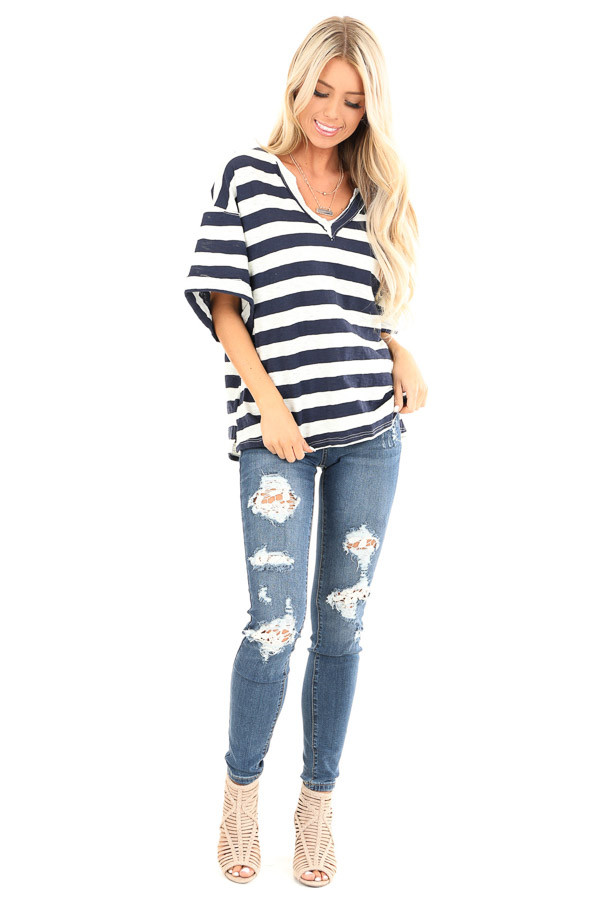 Navy and Oat Striped Oversized V Neck Short Sleeve Top front full body