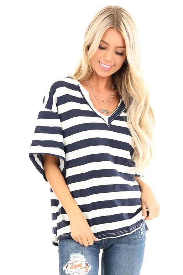 Navy and Oat Striped Oversized V Neck Short Sleeve Top front close up