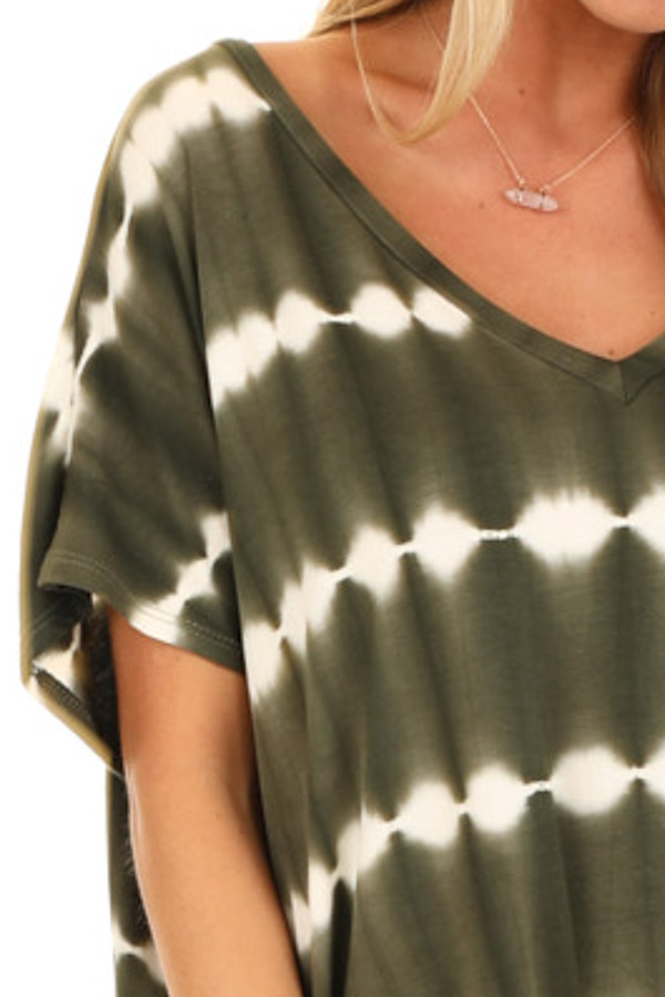 Olive and Ivory Tie Dye Short Sleeve Top with V Neckline detail