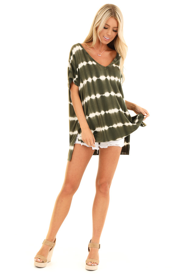 Olive and Ivory Tie Dye Short Sleeve Top with V Neckline front full body