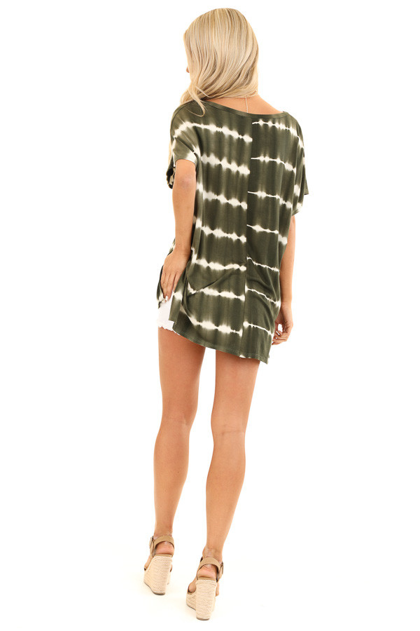 Olive and Ivory Tie Dye Short Sleeve Top with V Neckline back full body
