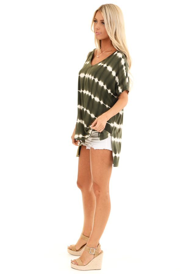 Olive and Ivory Tie Dye Short Sleeve Top with V Neckline side full body