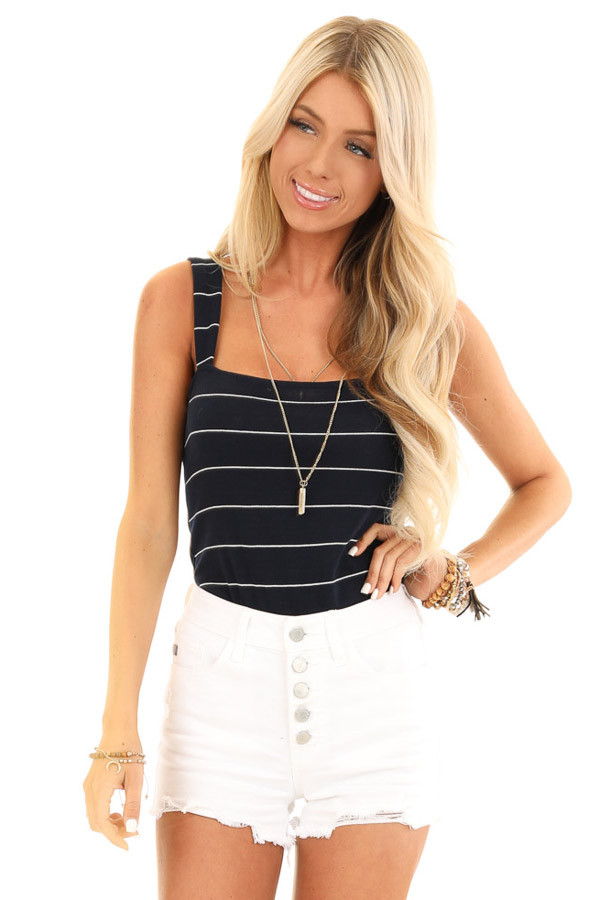 Midnight Navy and Ivory Striped Tank Top Bodysuit front close up