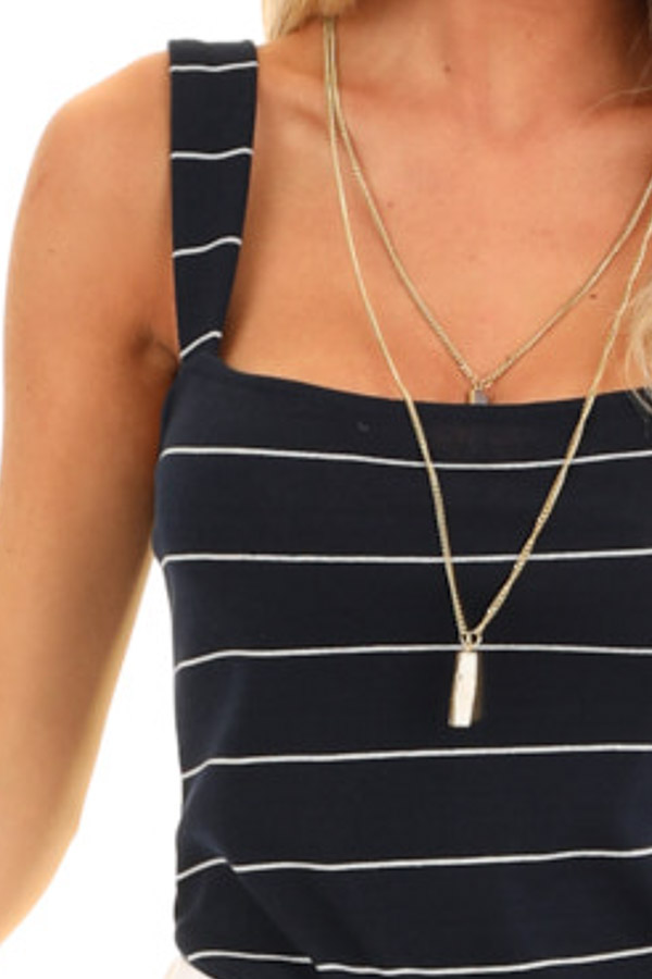 Midnight Navy and Ivory Striped Tank Top Bodysuit detail