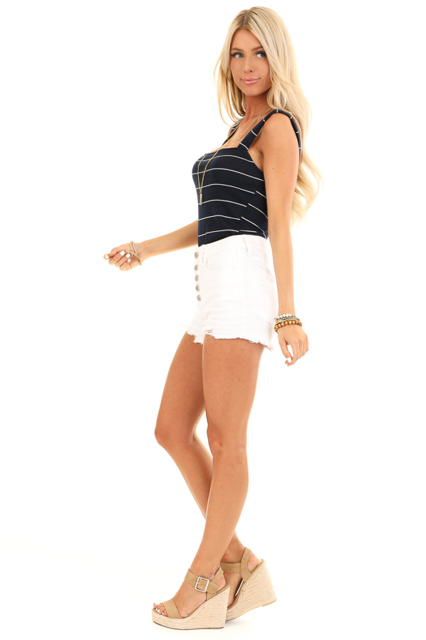Midnight Navy and Ivory Striped Tank Top Bodysuit side full body