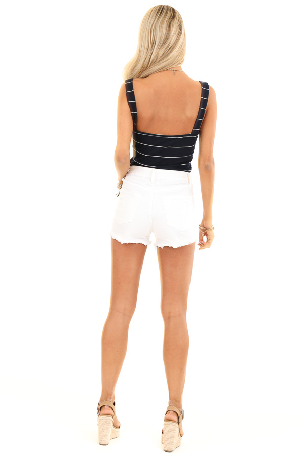 Midnight Navy and Ivory Striped Tank Top Bodysuit back full body