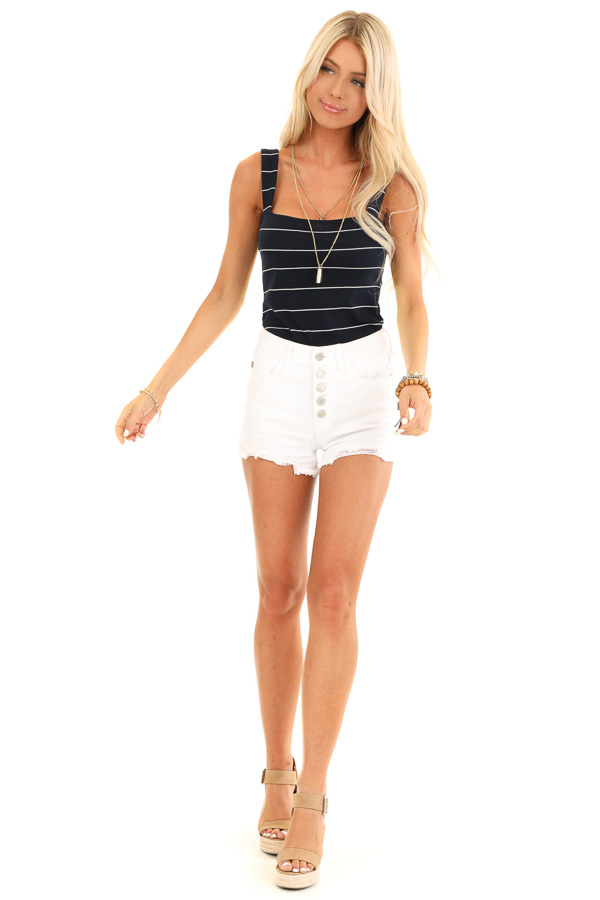 Midnight Navy and Ivory Striped Tank Top Bodysuit front full body