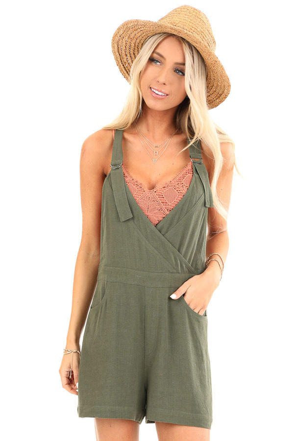 Olive Short Overalls with Surplice Front and Front Pockets front close up