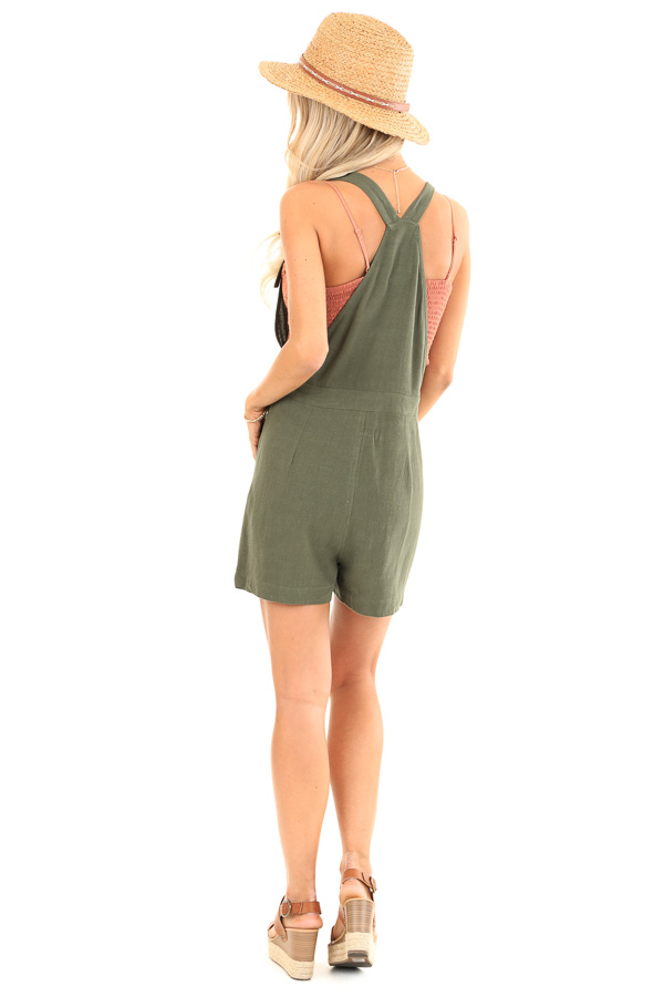 Olive Short Overalls with Surplice Front and Front Pockets back full body
