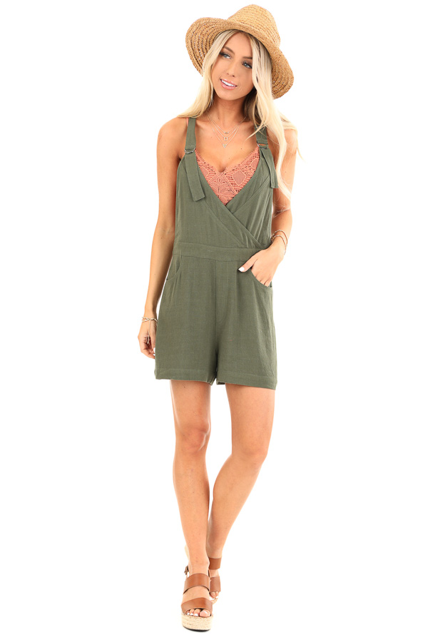 Olive Short Overalls with Surplice Front and Front Pockets front full body