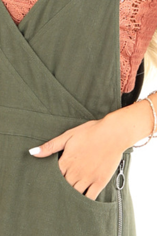 Olive Short Overalls with Surplice Front and Front Pockets detail
