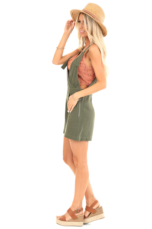 Olive Short Overalls with Surplice Front and Front Pockets side full body