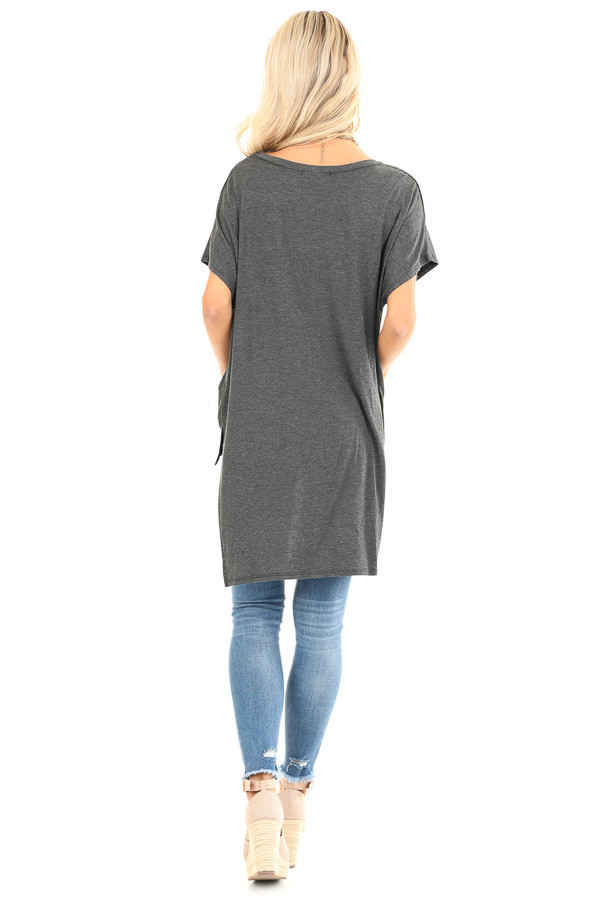 Charcoal Oversized Top with Extreme High Low Hemline back full body