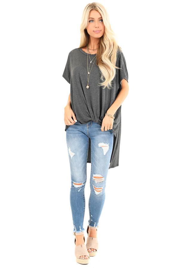 Charcoal Oversized Top with Extreme High Low Hemline front full body
