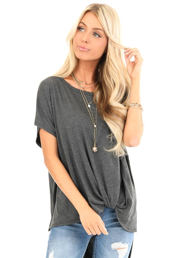 Charcoal Oversized Top with Extreme High Low Hemline front close up