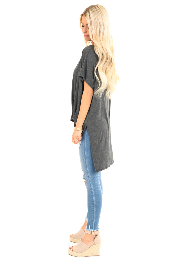 Charcoal Oversized Top with Extreme High Low Hemline side full body
