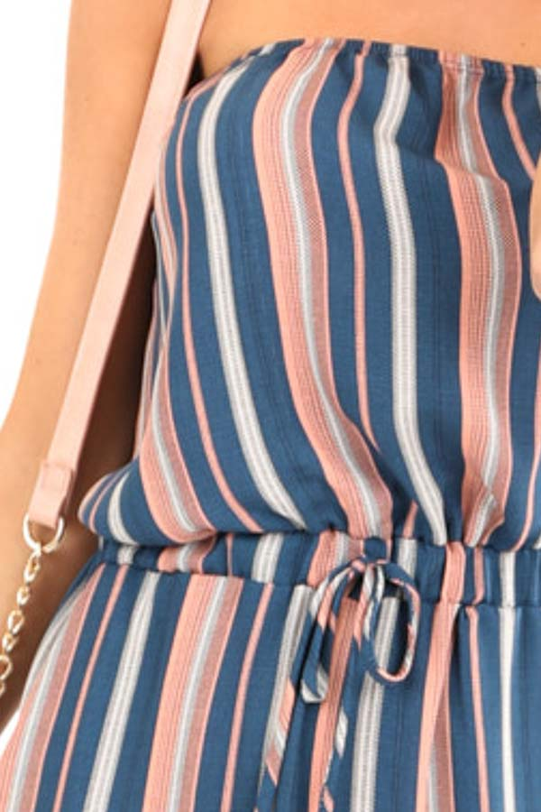 Navy and Salmon Striped Strapless Tube Jumpsuit with Pockets detail