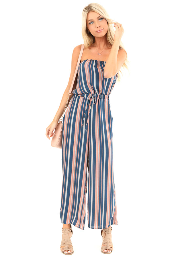 Navy and Salmon Striped Strapless Tube Jumpsuit with Pockets front full body