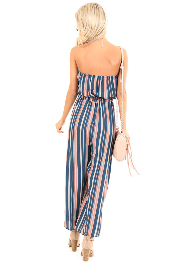 Navy and Salmon Striped Strapless Tube Jumpsuit with Pockets back full body